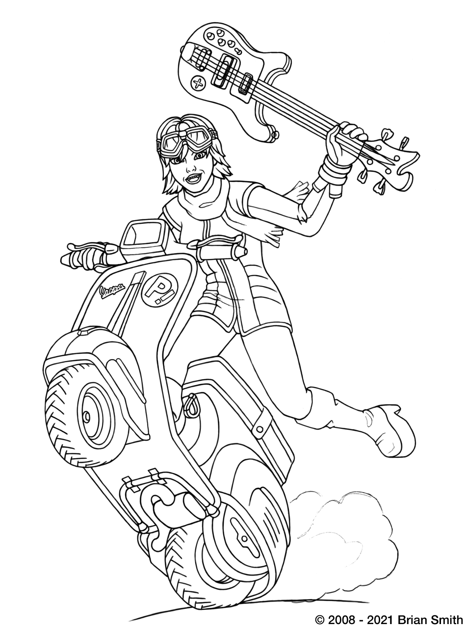 Lineart of Haruhara Haruko from FLCL